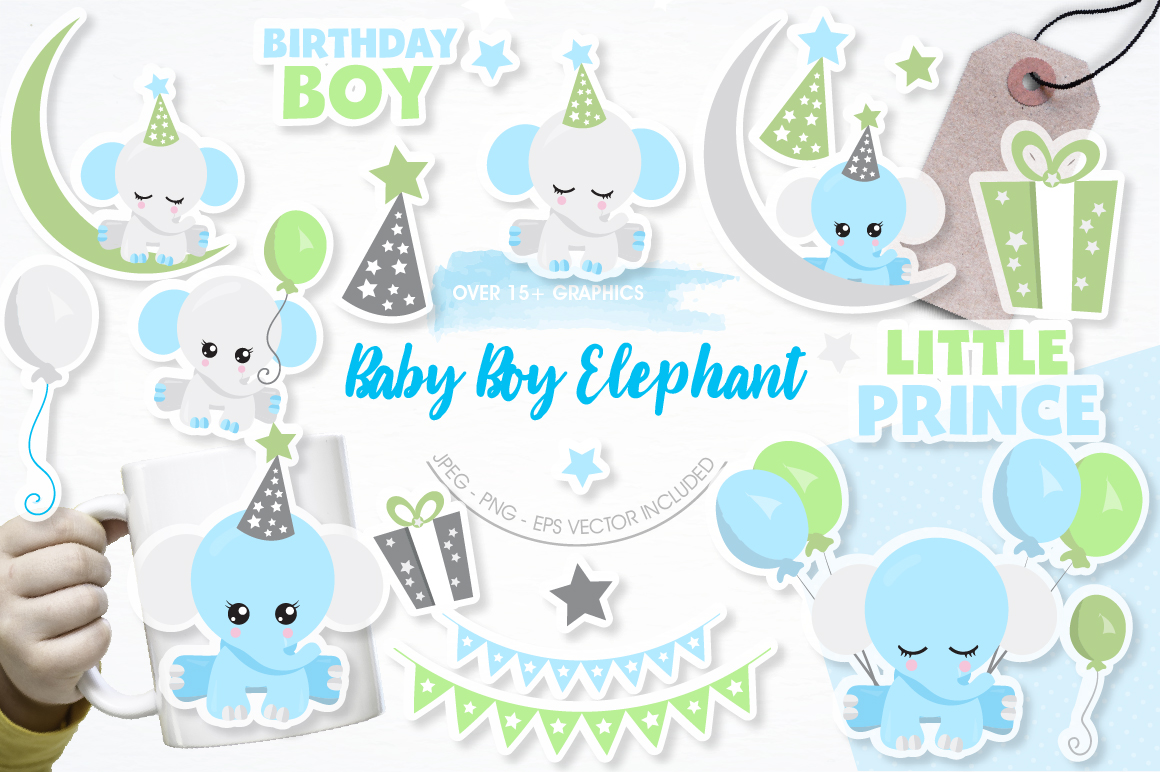Baby Boy Elephants graphics and illustrations example image 1