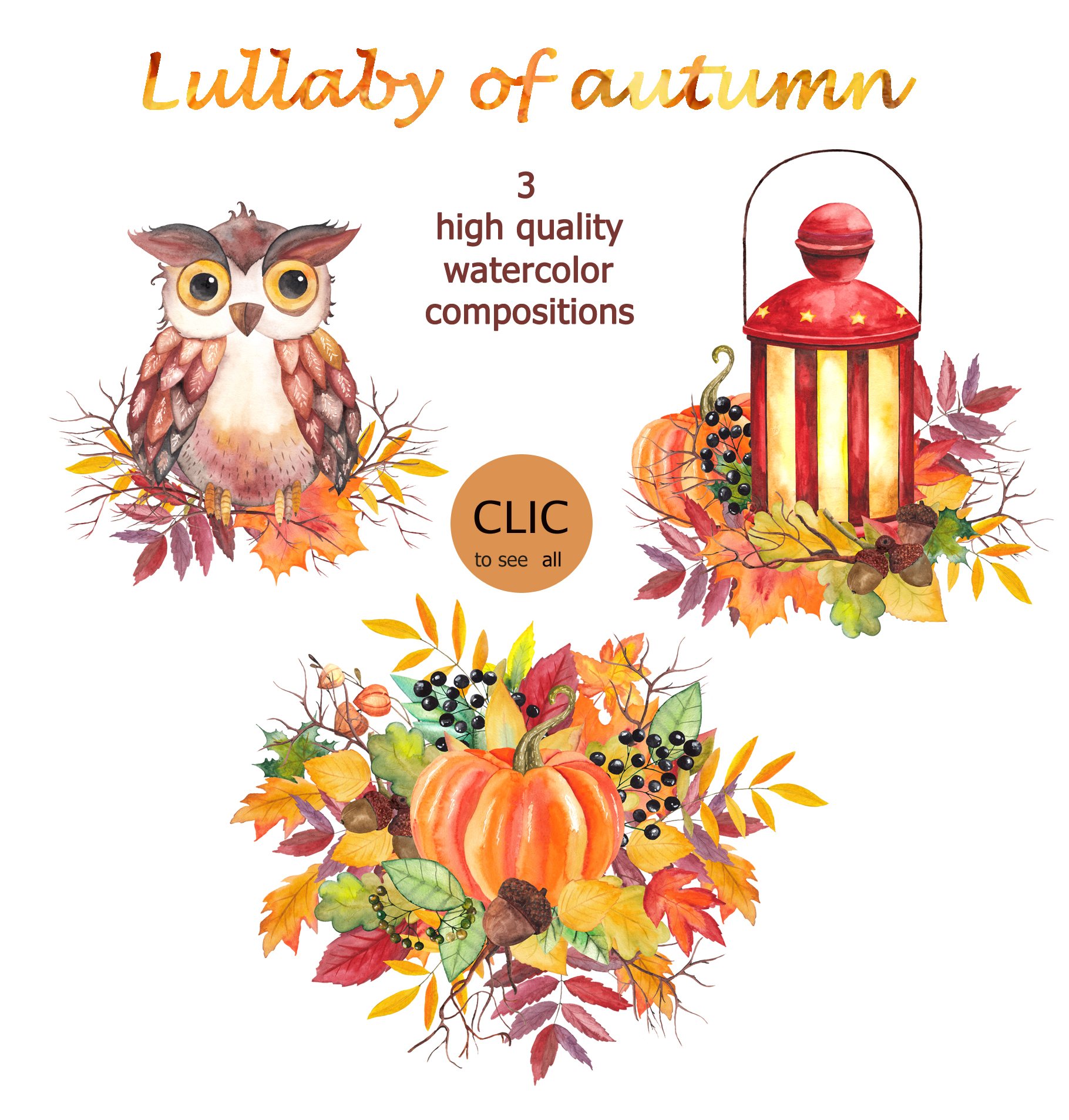Lullaby of Autumn. Watercolor collection example image 5