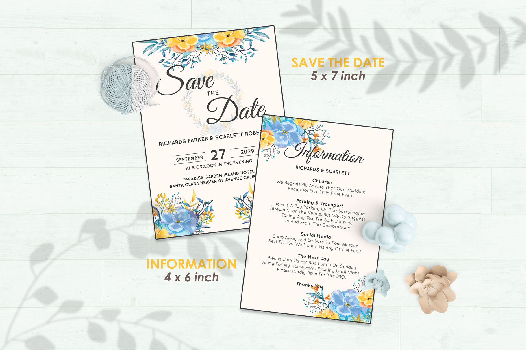 Wedding Invitation Set #7 Watercolor Floral Flower Style example image 3