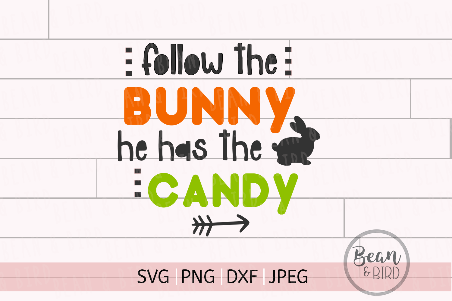 Follow The Bunny Easter Svg Cut File example image 1