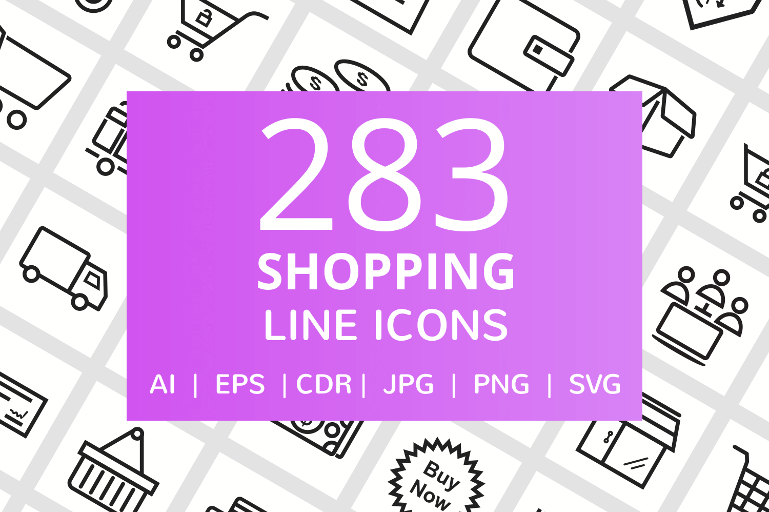283 Shopping Line Icons example image 1