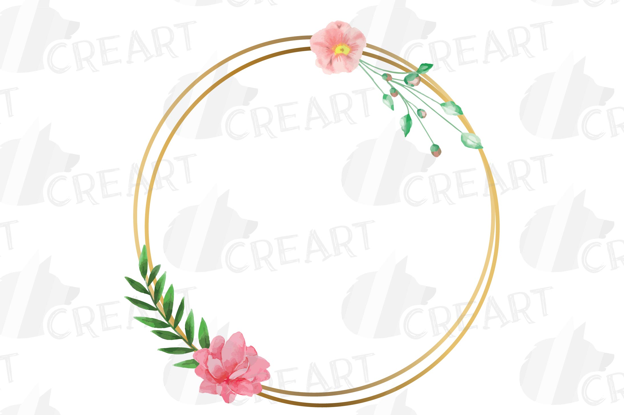 Golden Floral Frames Clip Art. Wedding geometric borders png example image 17