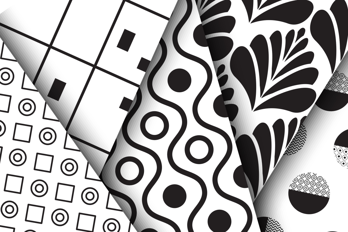 Black & White Seamless Patterns example image 2