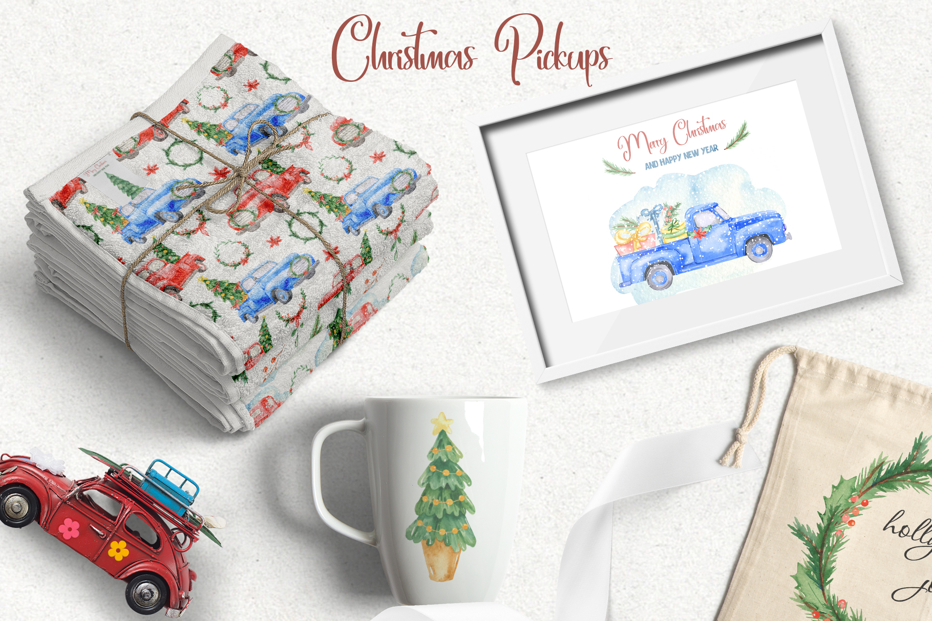 Christmas pickup Watercolor clipart and Christmas elements example image 11