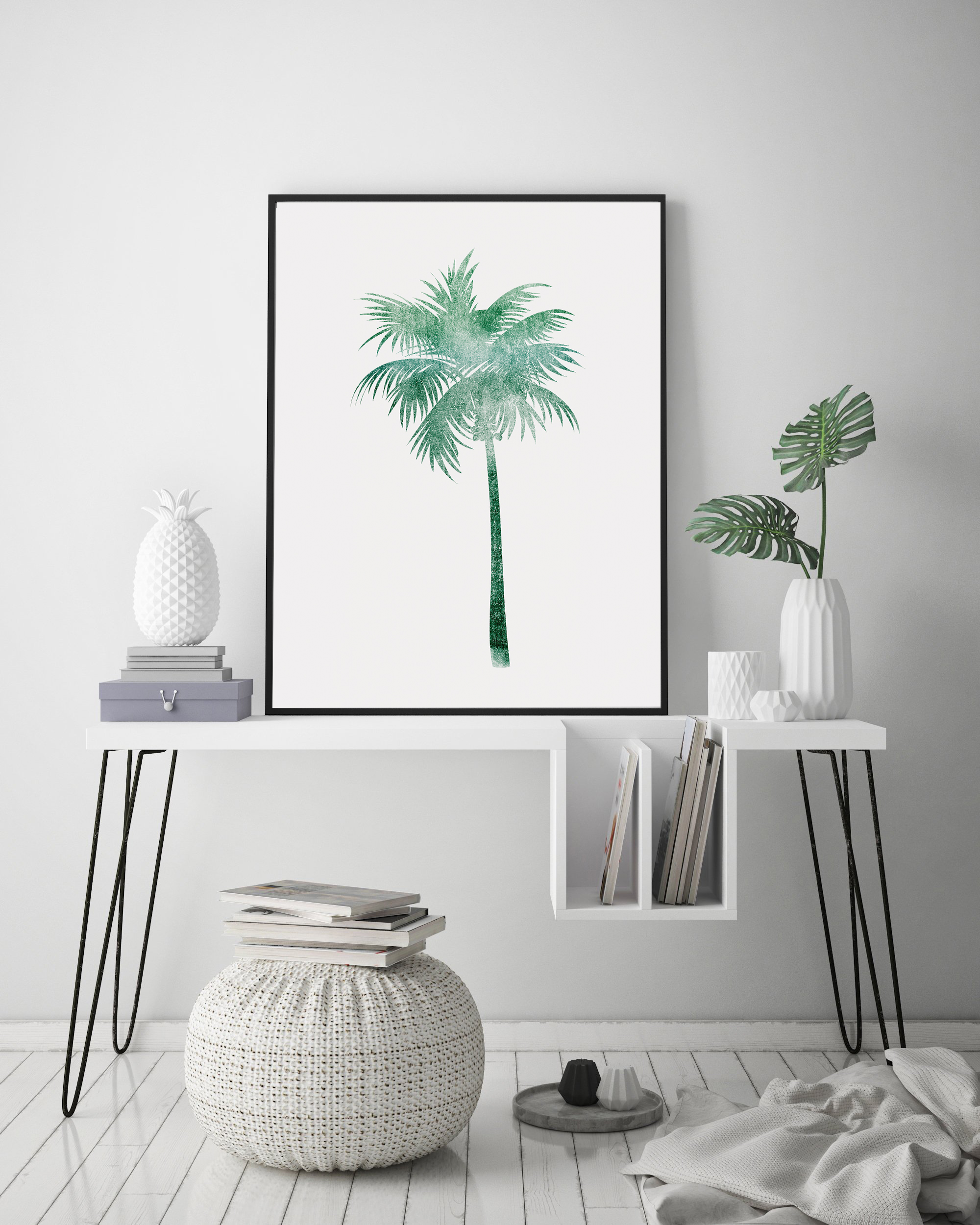 Palm Tree Printable Wall Art, Green Palm Tree Poster example image 2