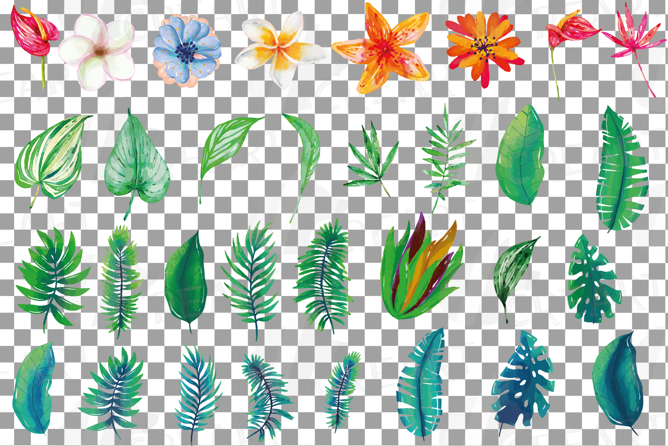 Tropical navy blue and green leaves and exotic flowers example image 4