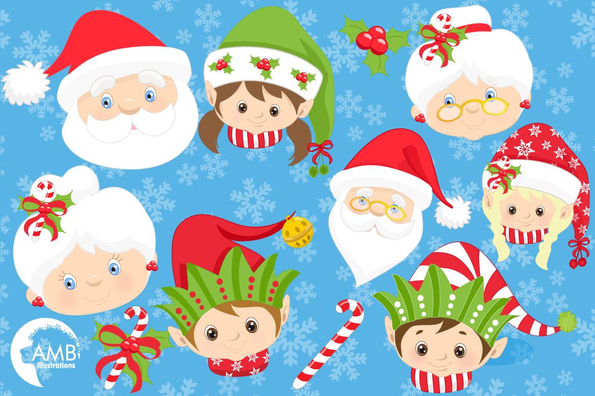 Santa, Mama Claus, elves, snowmen faces  clipart, graphics, illustrations AMB-191 example image 4