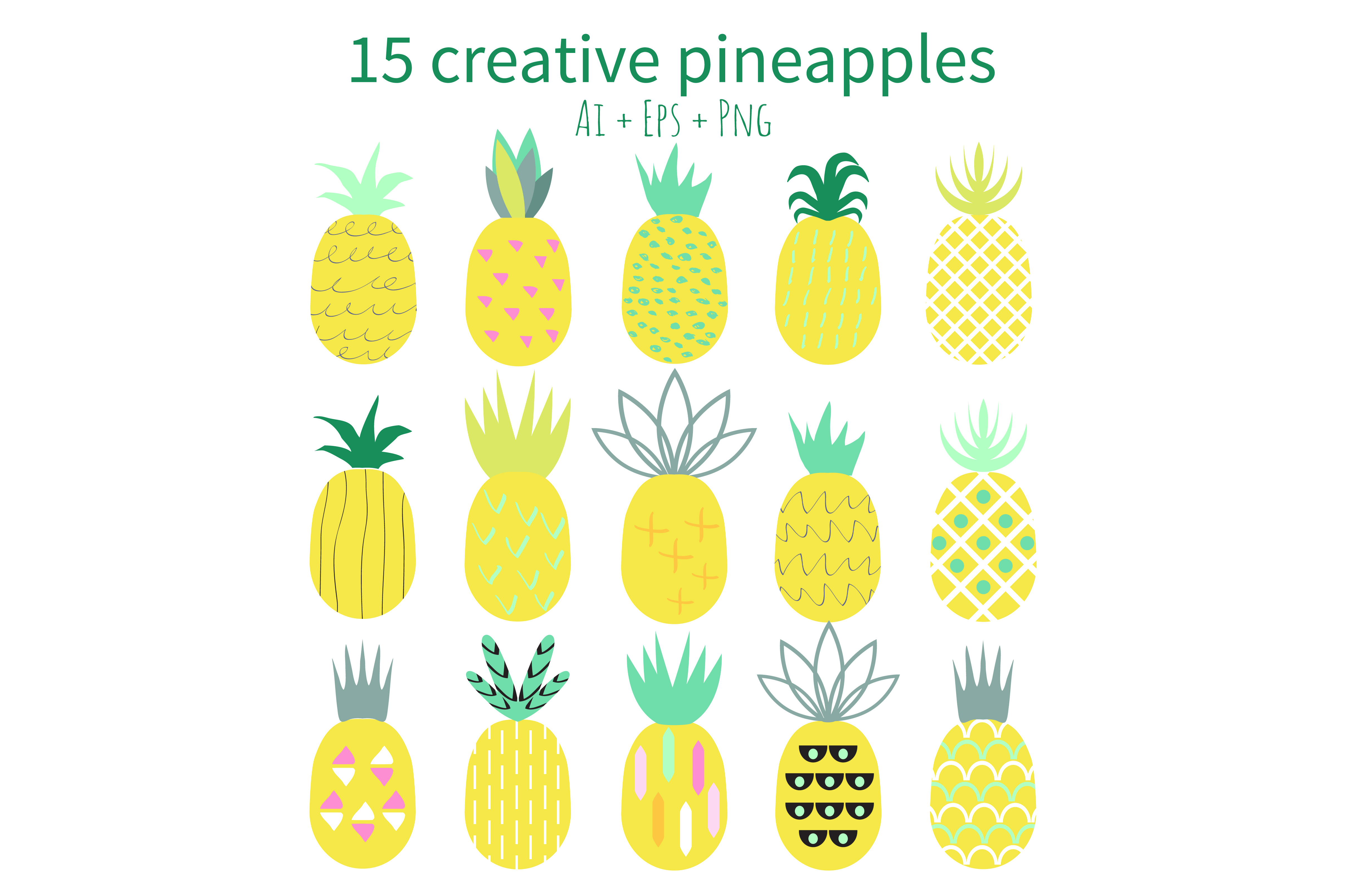 Creative Pineapples Set Vector example image 2