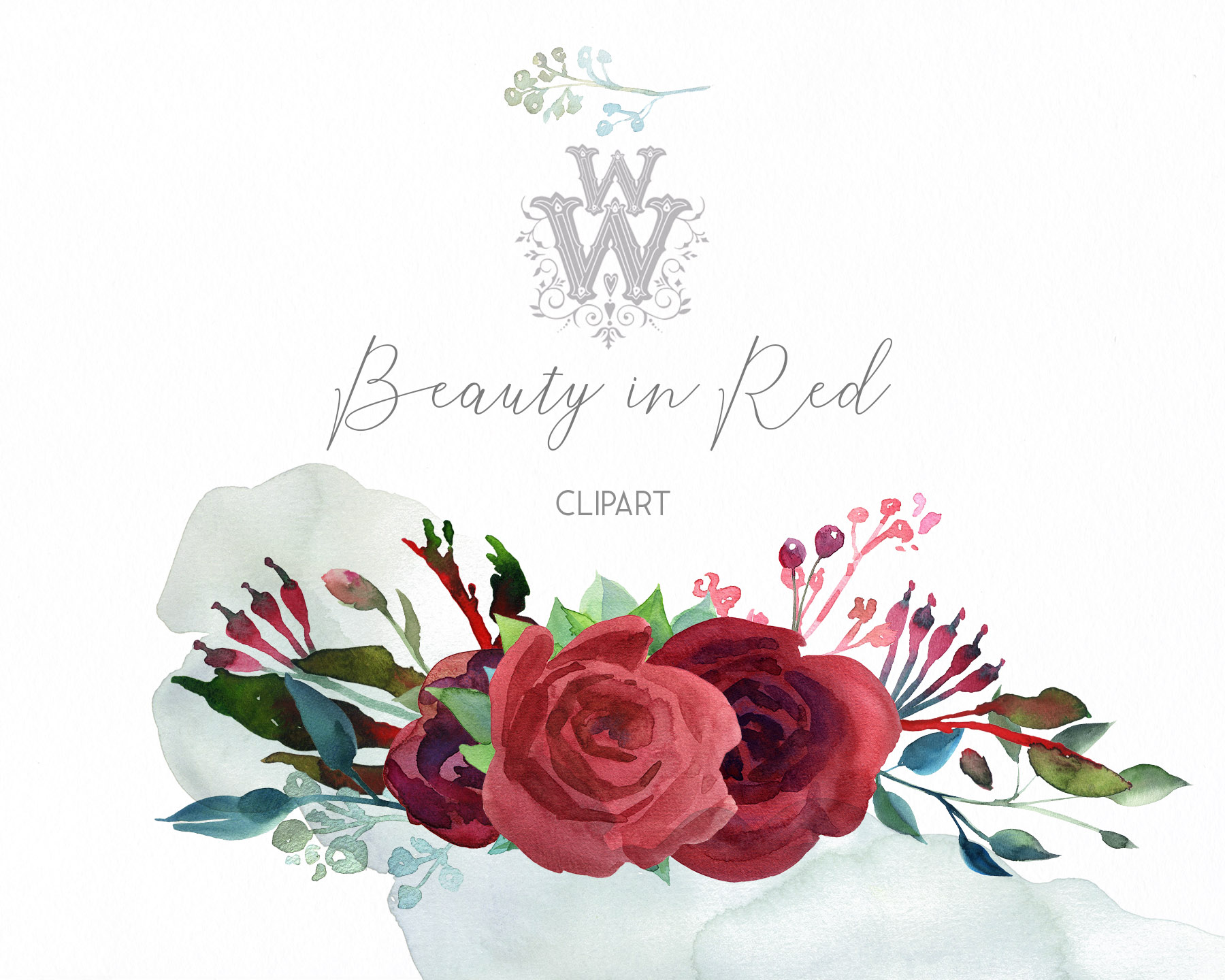 Watercolor red rose flowers wedding clipart, boho pink peony example image 6