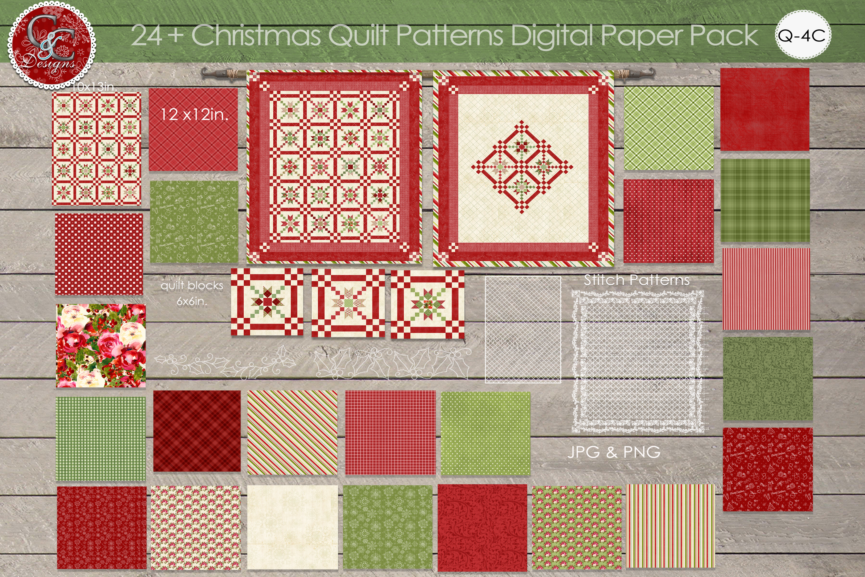 24 plus christmas quilt patterns digital paper pack example image 1