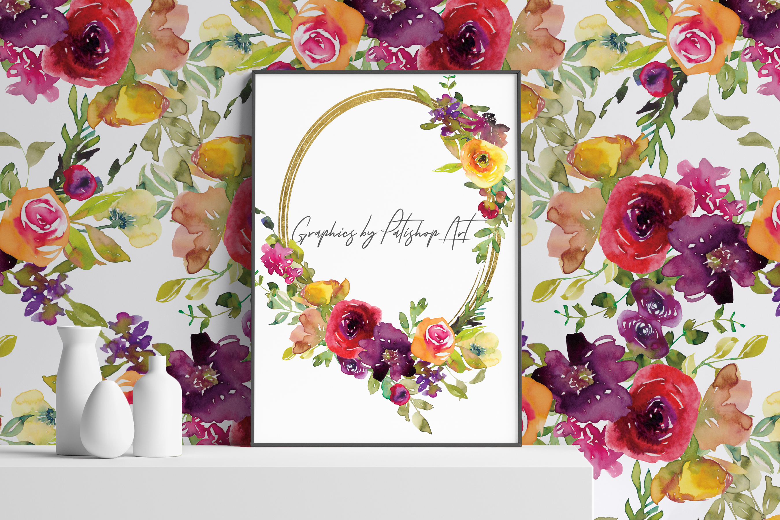 Watercolor Burgundy and Yellow Floral Bouquet Clipart example image 9