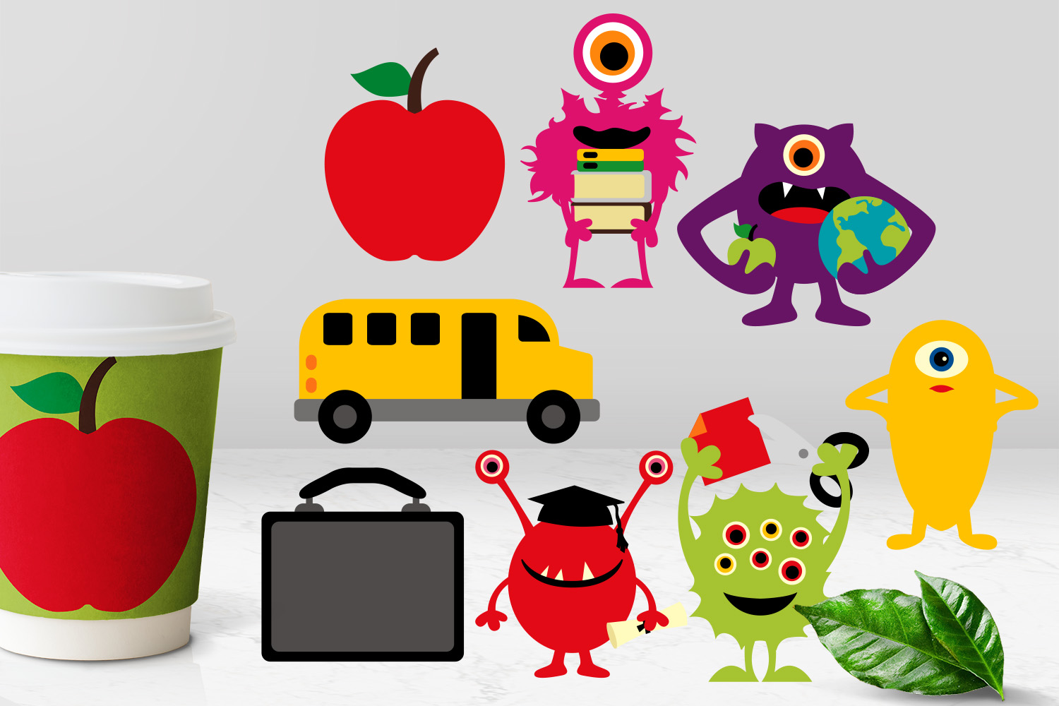 Back to school monsters clip art graphics bundle example image 4