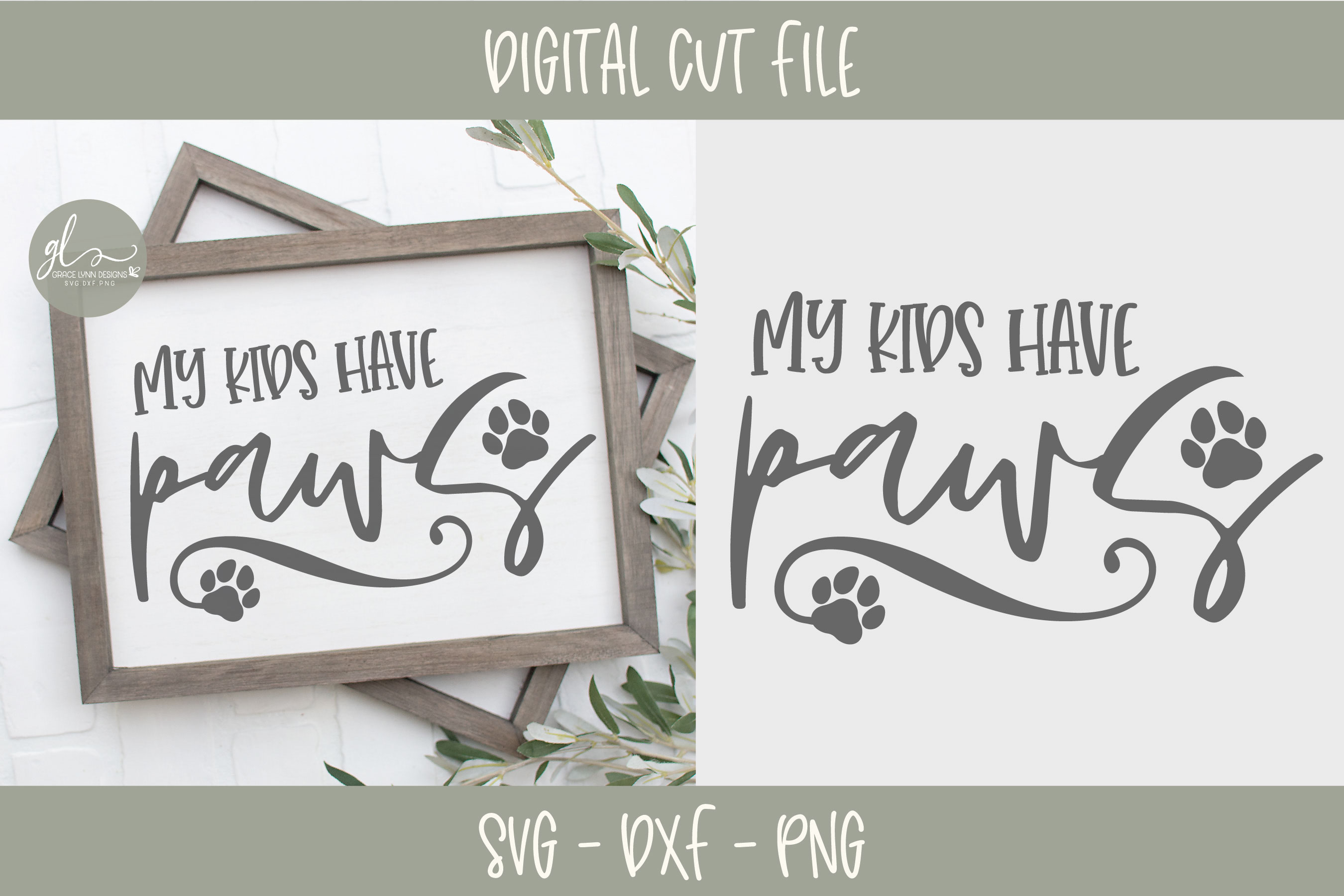 My Kids Have Paws - SVG example image 1
