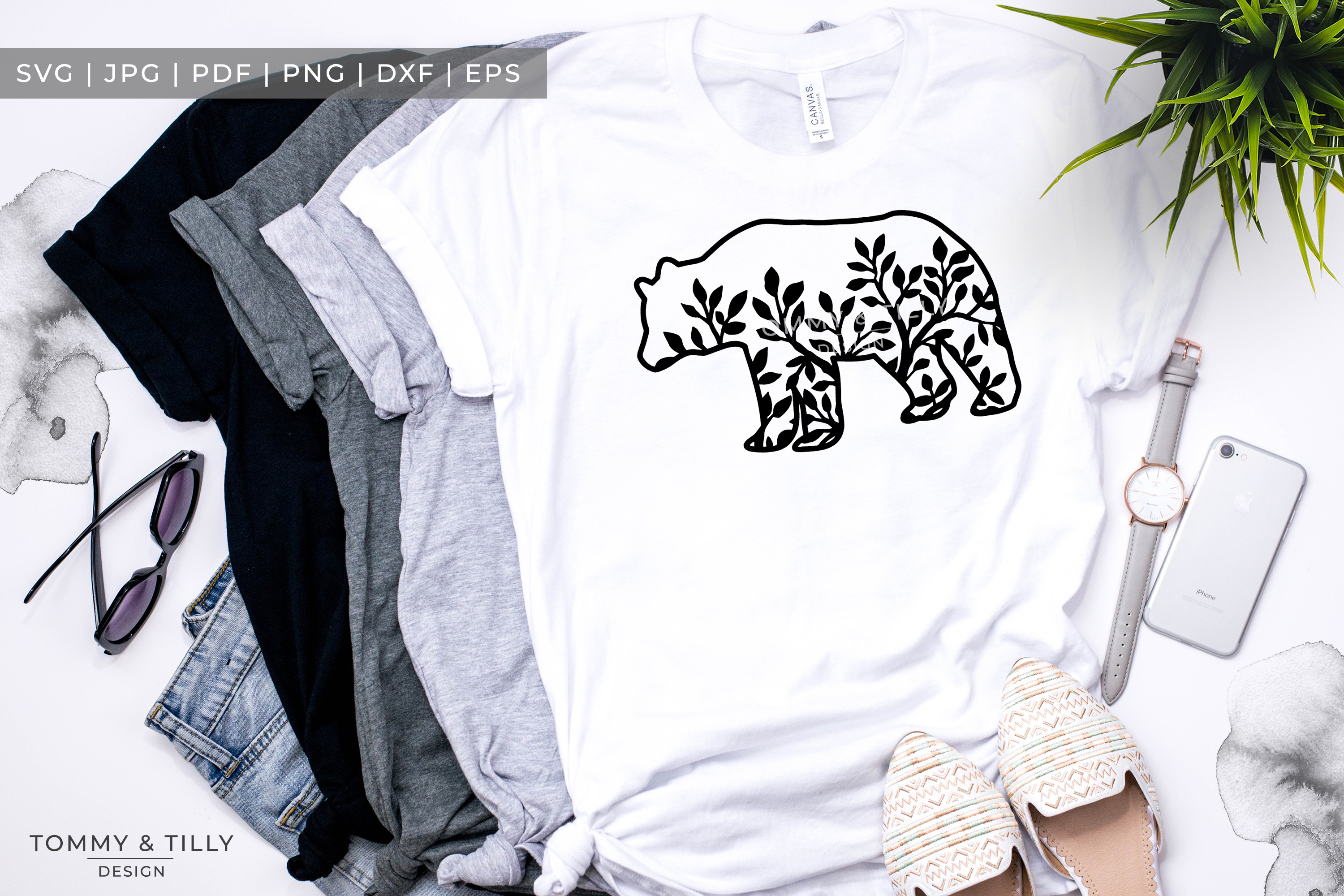 Foliage Bear x 3 - Papercut Template SVG EPS DXF PNG PDF example image 1