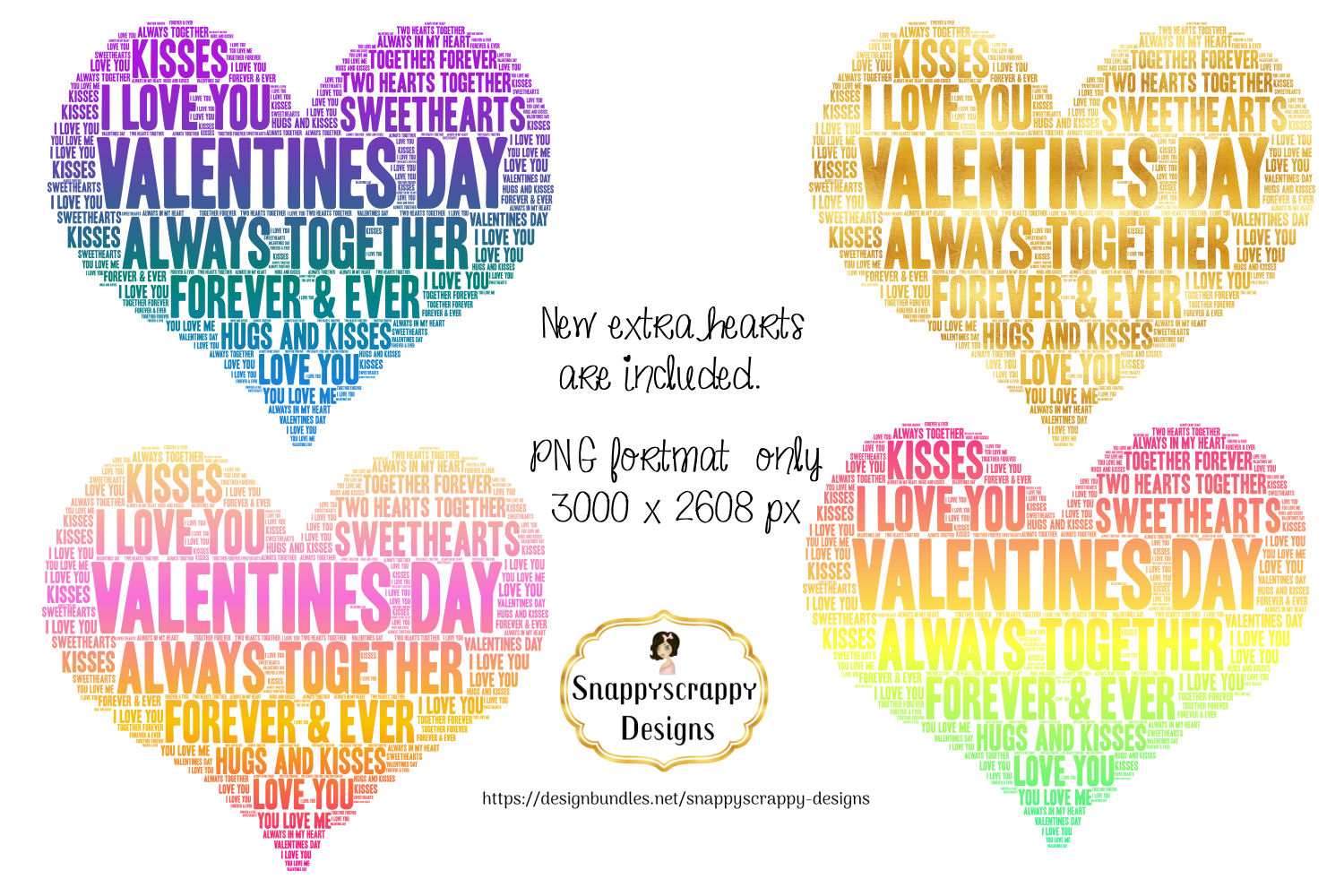 Valentine Love Hearts - Wordart Shapes example image 3