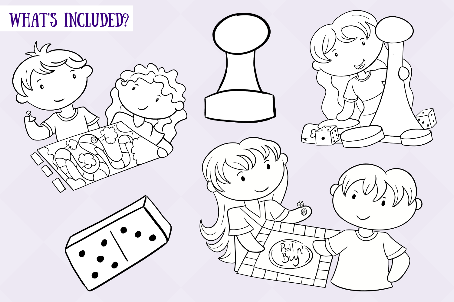 Kids Playing Board Games Digital Stamps example image 2