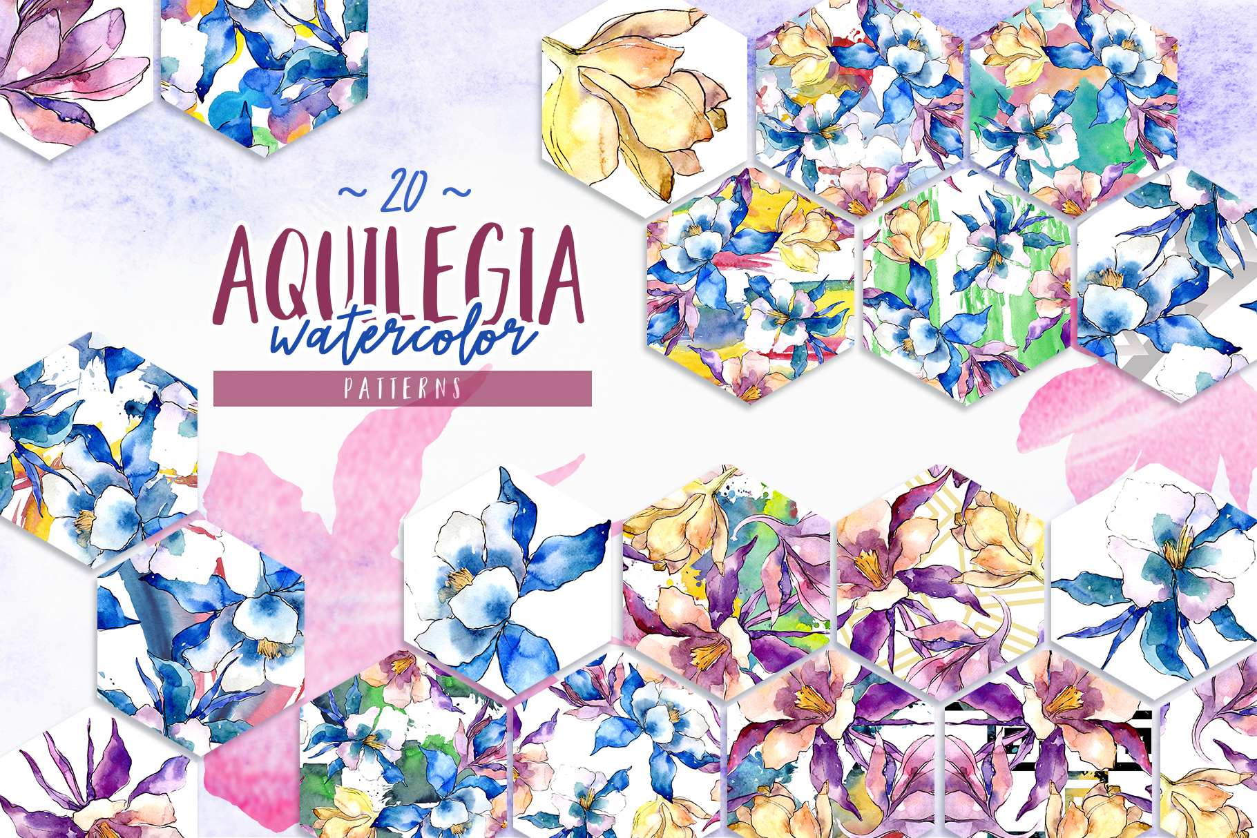 Beautiful aquilegia PNG watercolor set example image 6