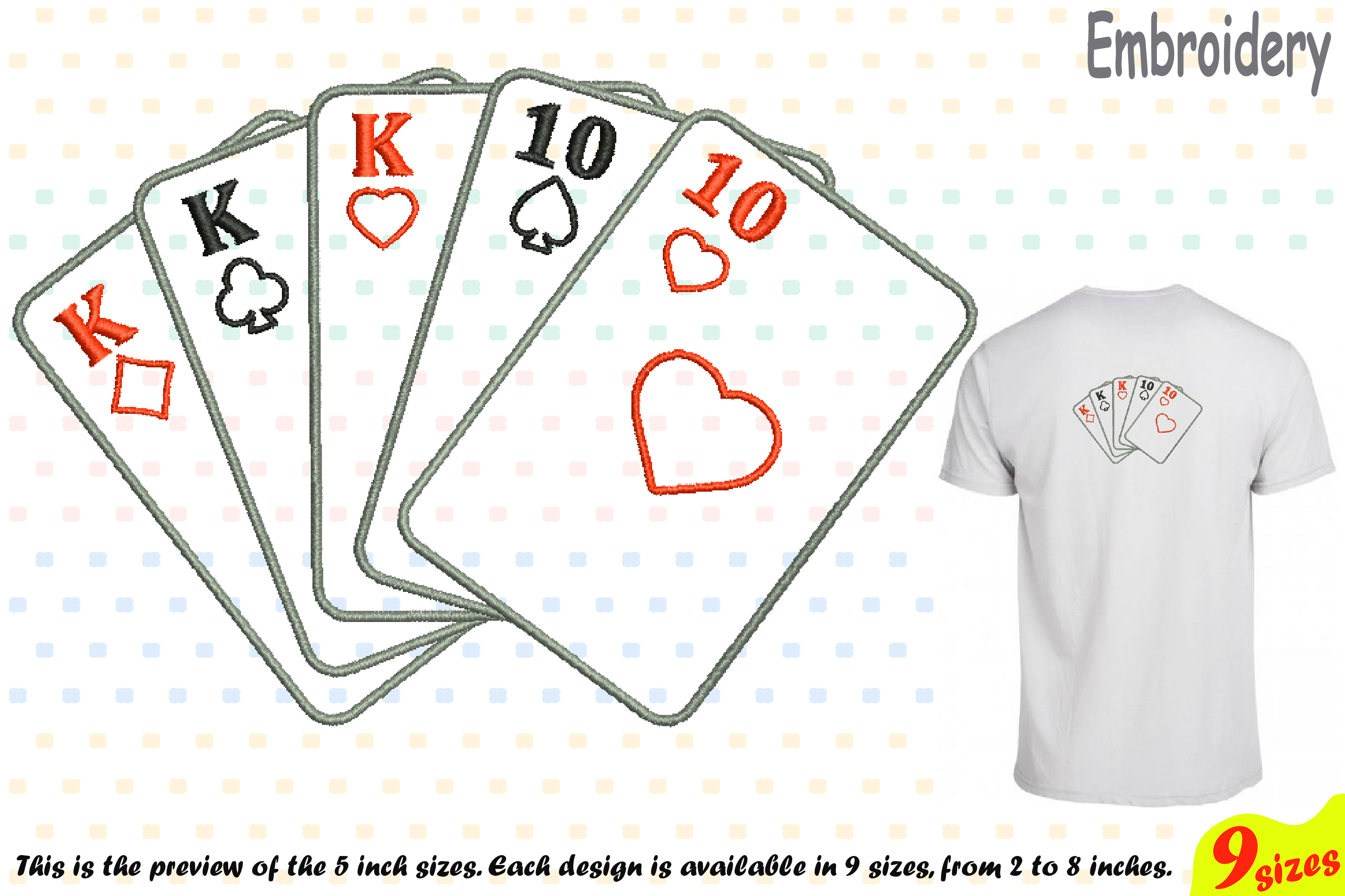 Poker Full House Designs for Embroidery Machine Instant Download Commercial Use digital file 4x4 5x7 hoop symbol sign casino las vegas 200b example image 1
