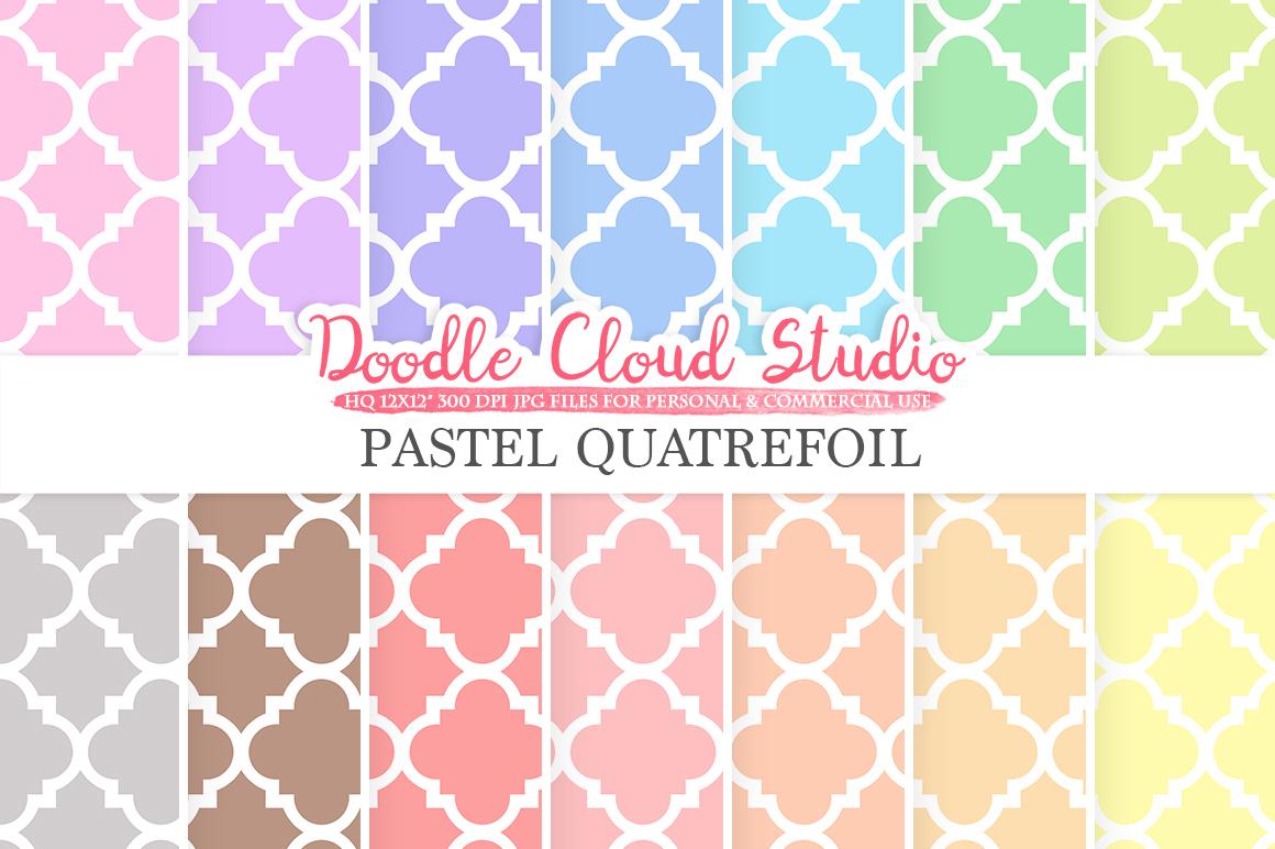 Pastel Quatrefoil digital paper, Quatrefoil patterns, Digital Quatrefoil, pastel background, Instant Download for Personal & Commercial Use example image 1