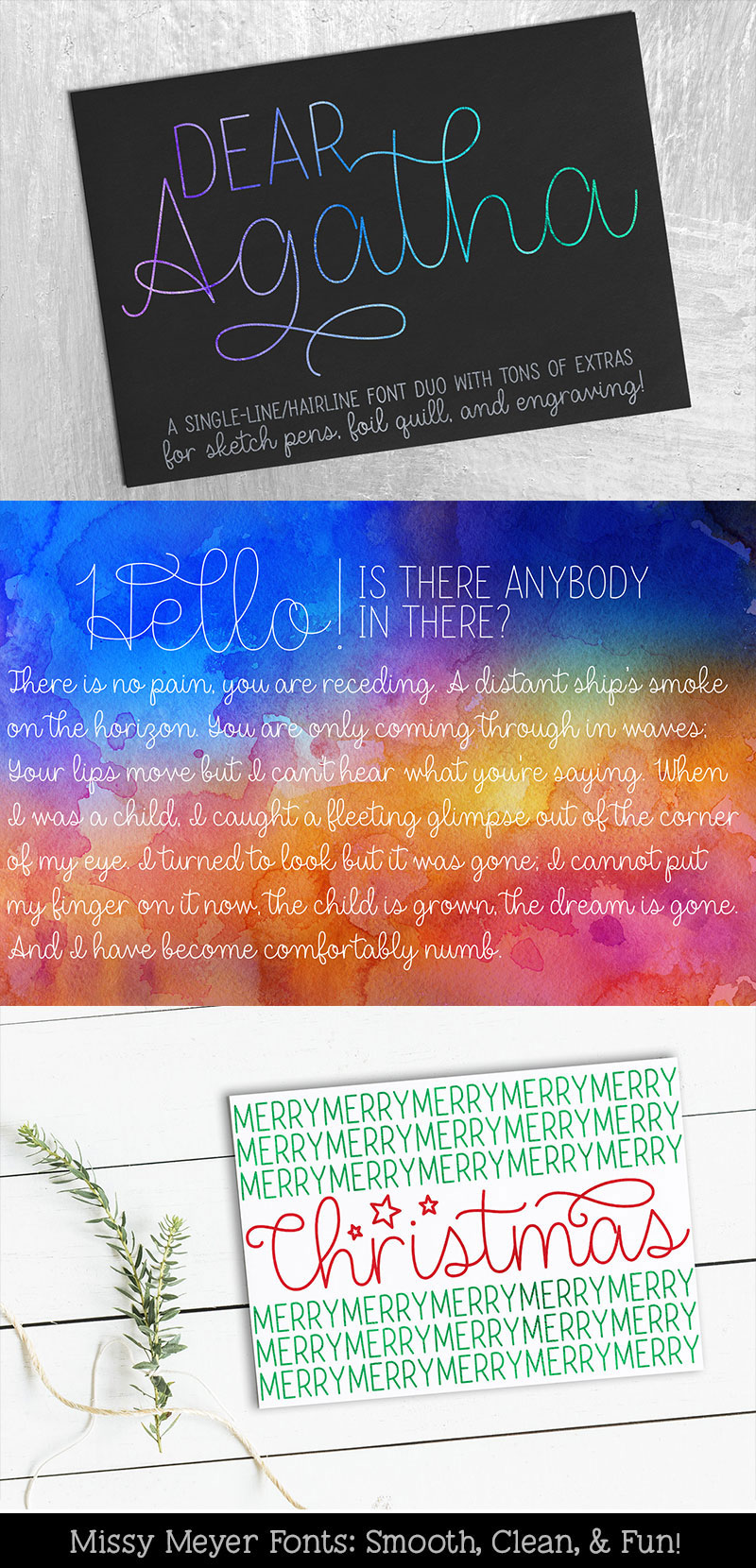 Dear Agatha - a single-line hairline pen & quill font duo! example image 8