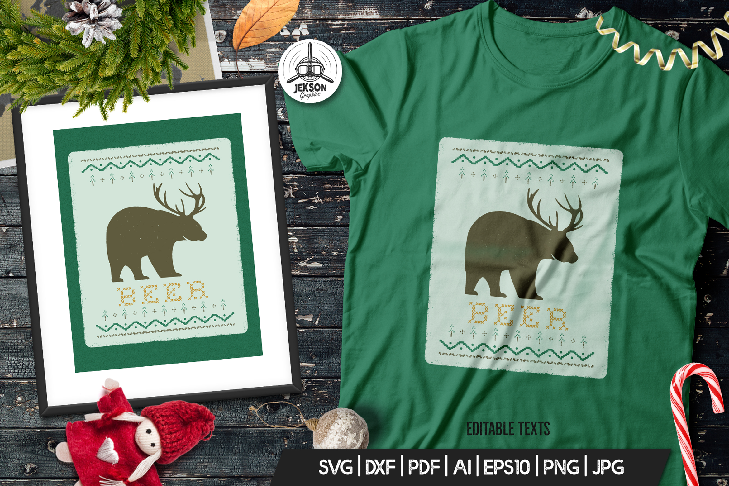 Funny Christmas Print T-Shirt Sweater. Beer Design SVG File example image 1
