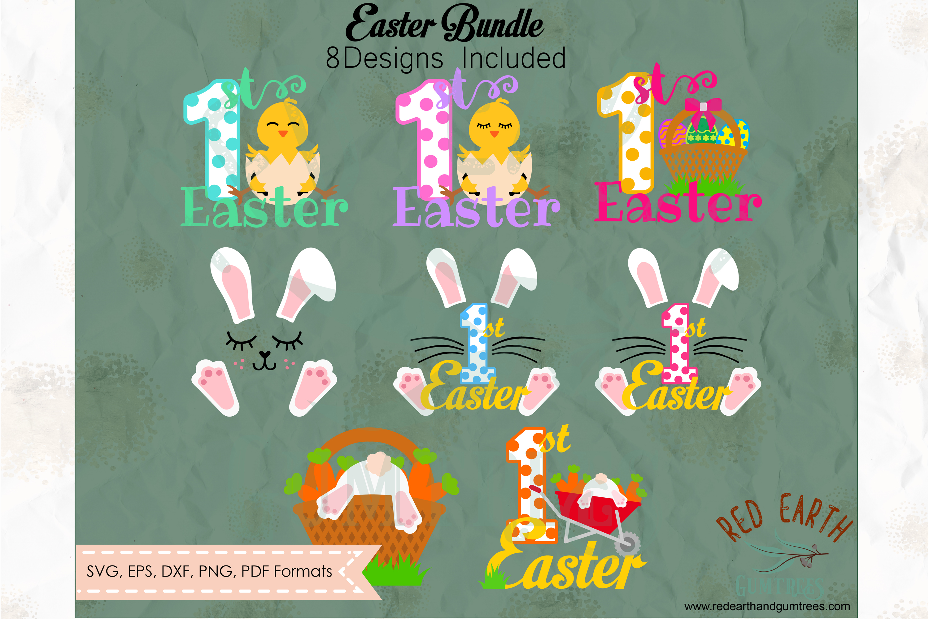 Easter bundle, Easter rabbits, bunny cut file in SVG format example image 1