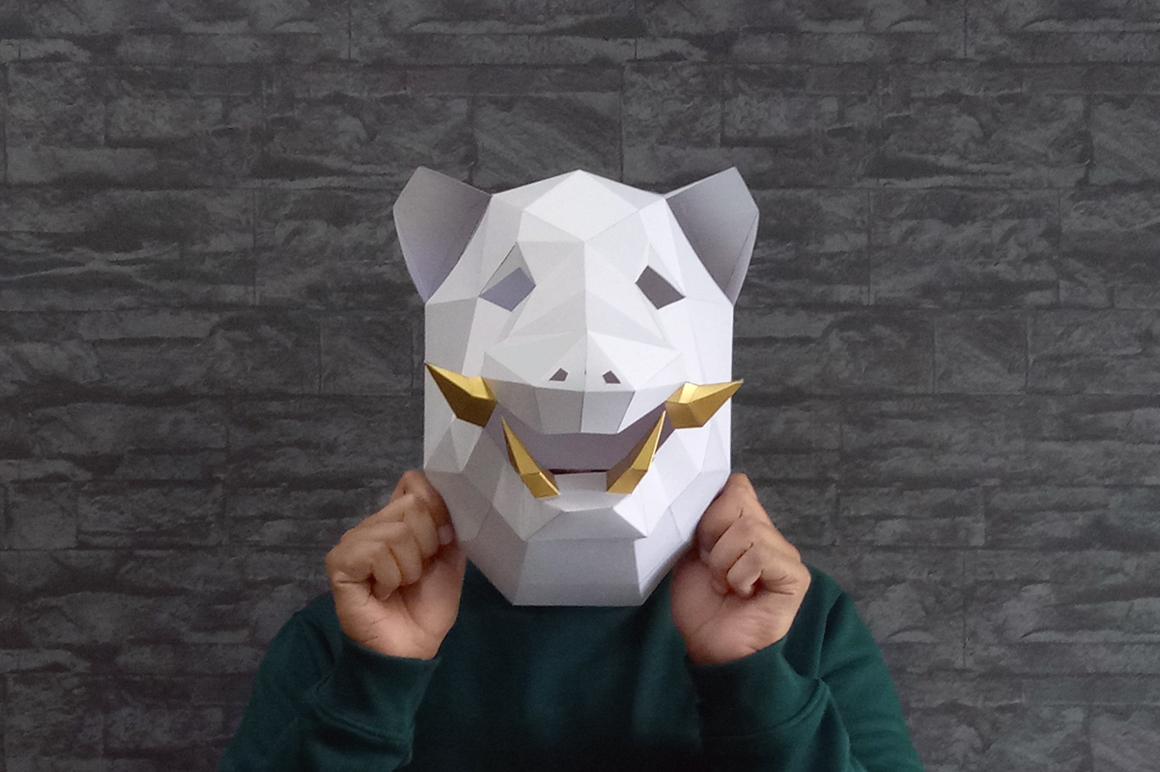 DIY Boar Trophy - 3d papercraft example image 2