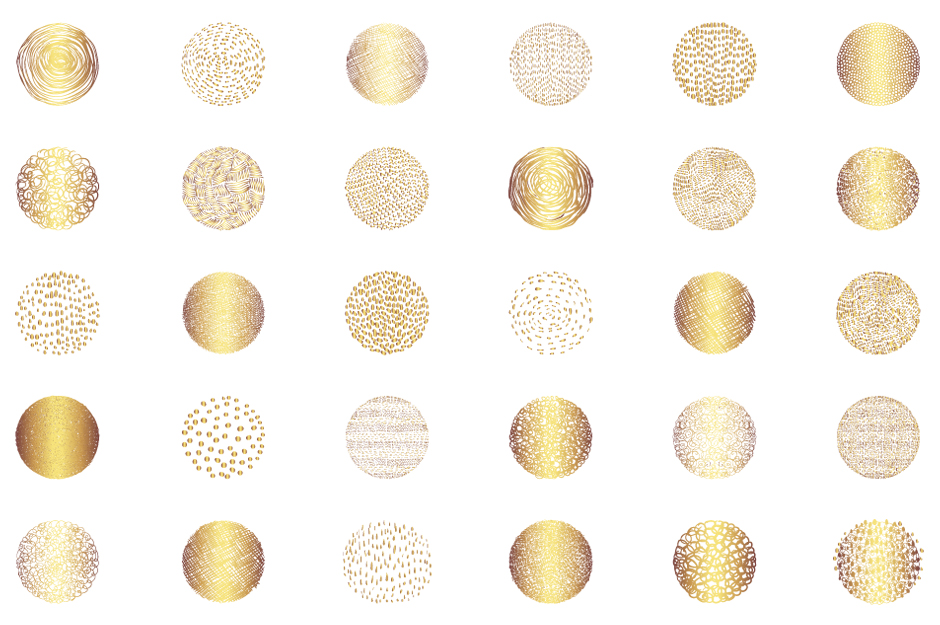Abstract gold round textures clip art set example image 2