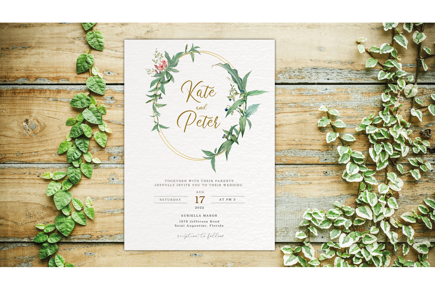 Greenery Wedding Invitation Template Set, Botanical example image 1