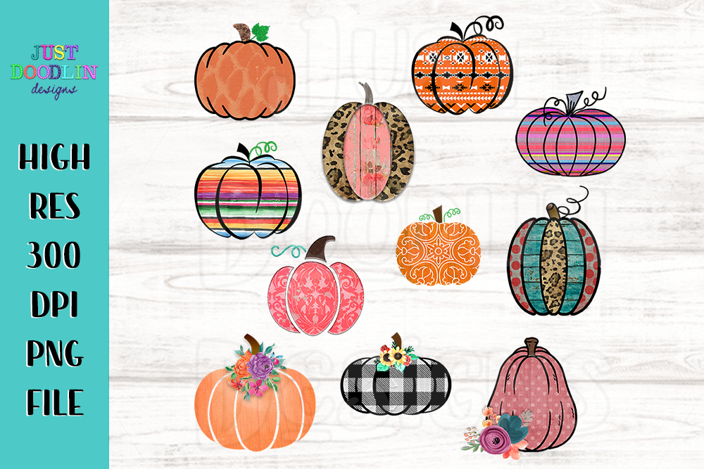 Set of 11 decorative pumpkins PNG files example image 1