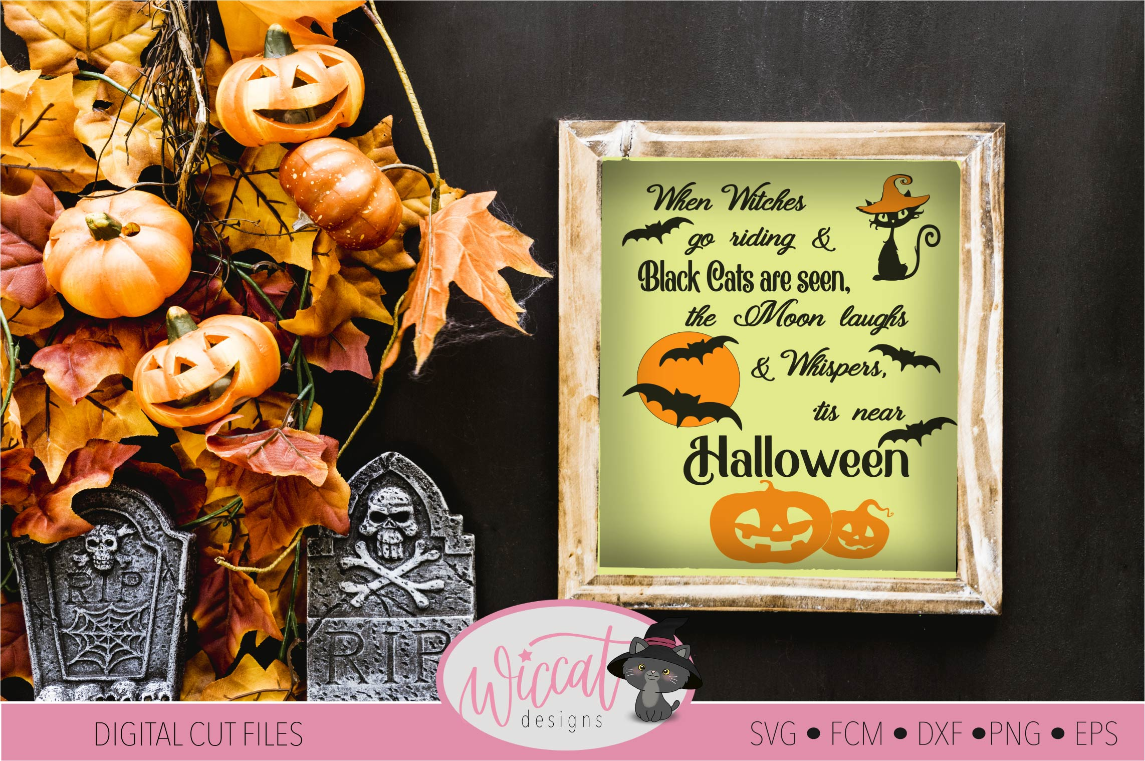 Halloween sign quote with cats, bats and pumpkin designs example image 2