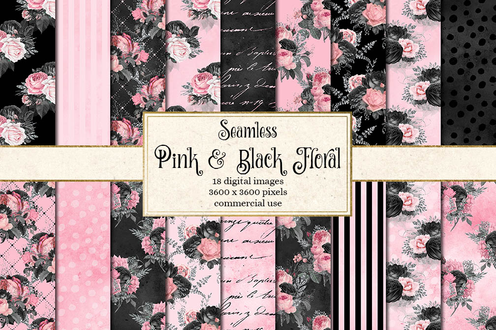 Pink and Black Floral Digital Paper example image 1