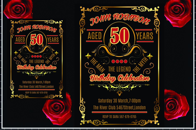 Vintage Birthday Invitation Card example image 1
