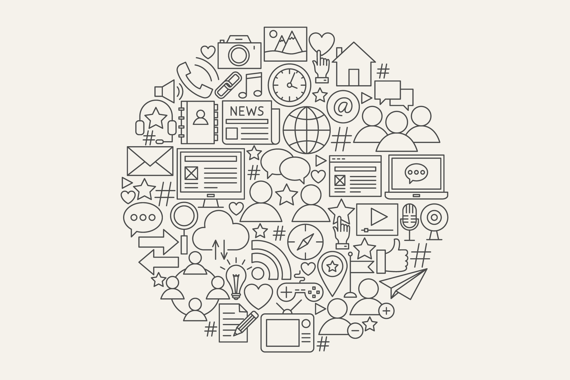 Social Media Line Art Icons example image 4