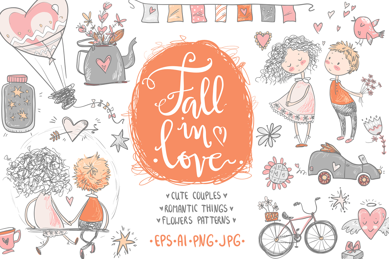 Fall in love, ROMANTIC graphic KIT example image 1