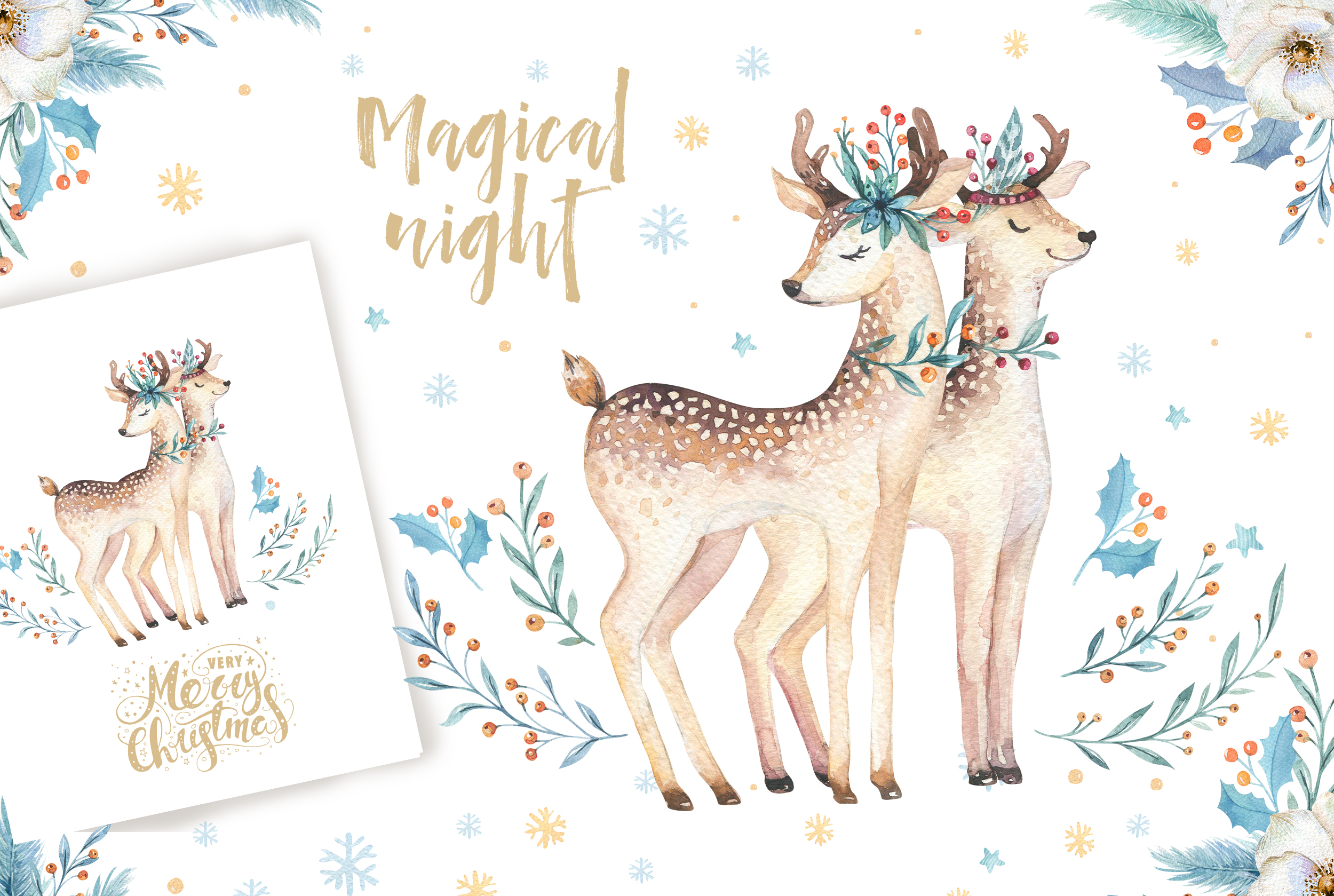 Watercolor Christmas deer example image 5