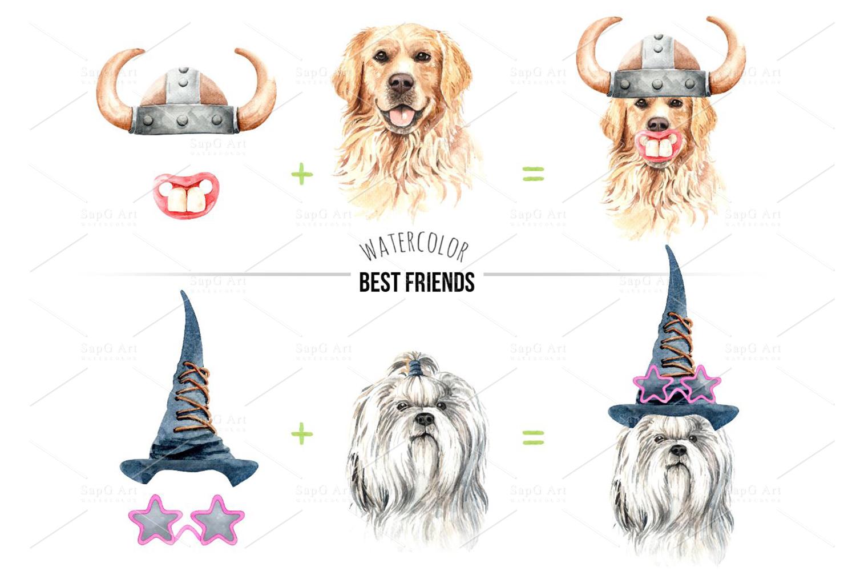 Dog watercolor clipart, Pet clip arts, Dog Set D example image 6