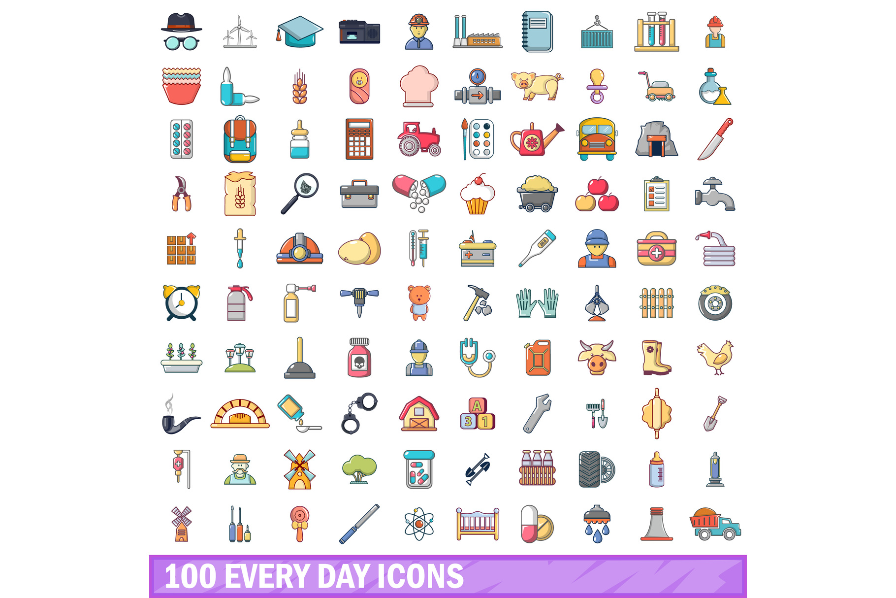 100 every day icons set, cartoon style example image 1