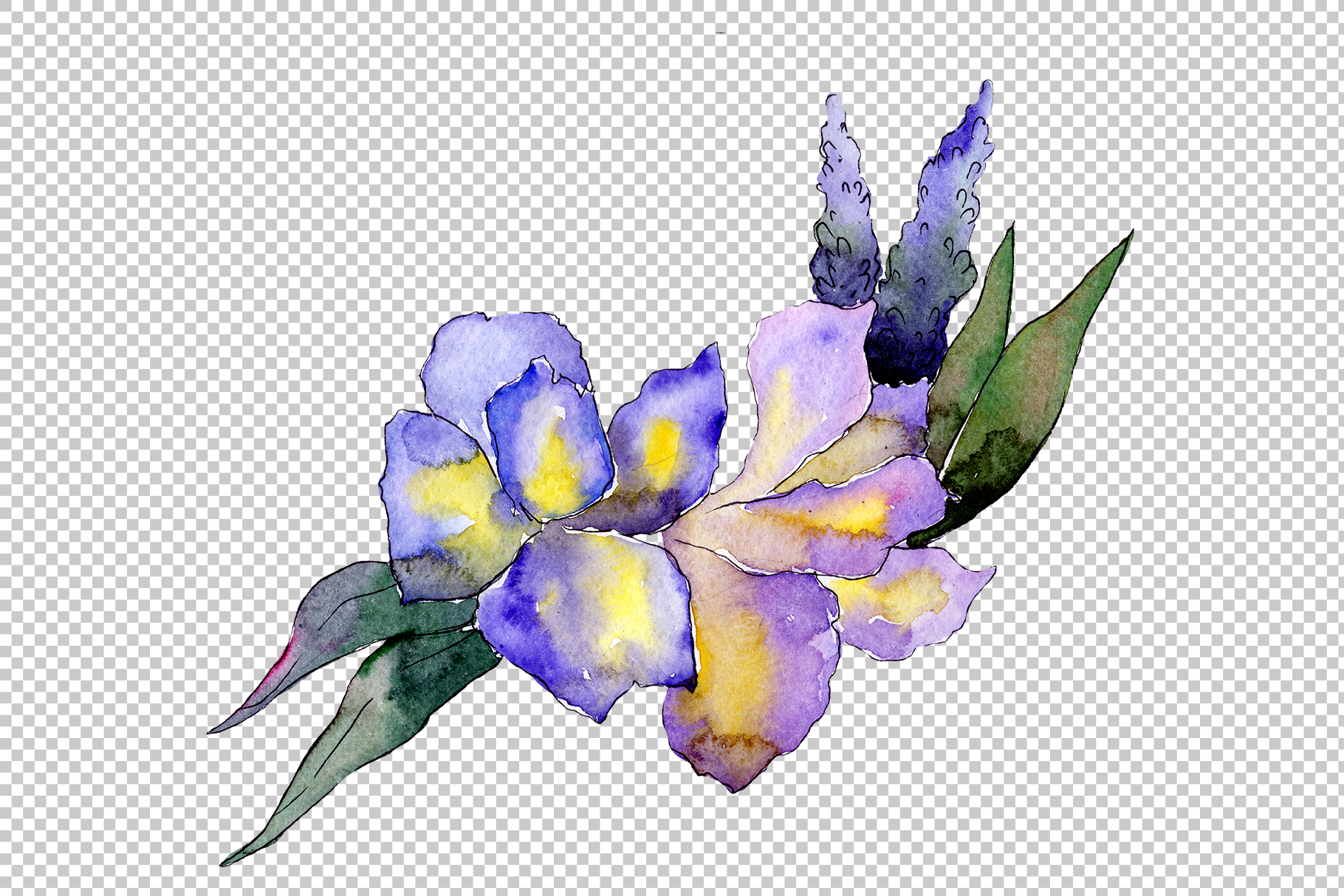 Bouquet flower composition PNG watercolor set example image 5