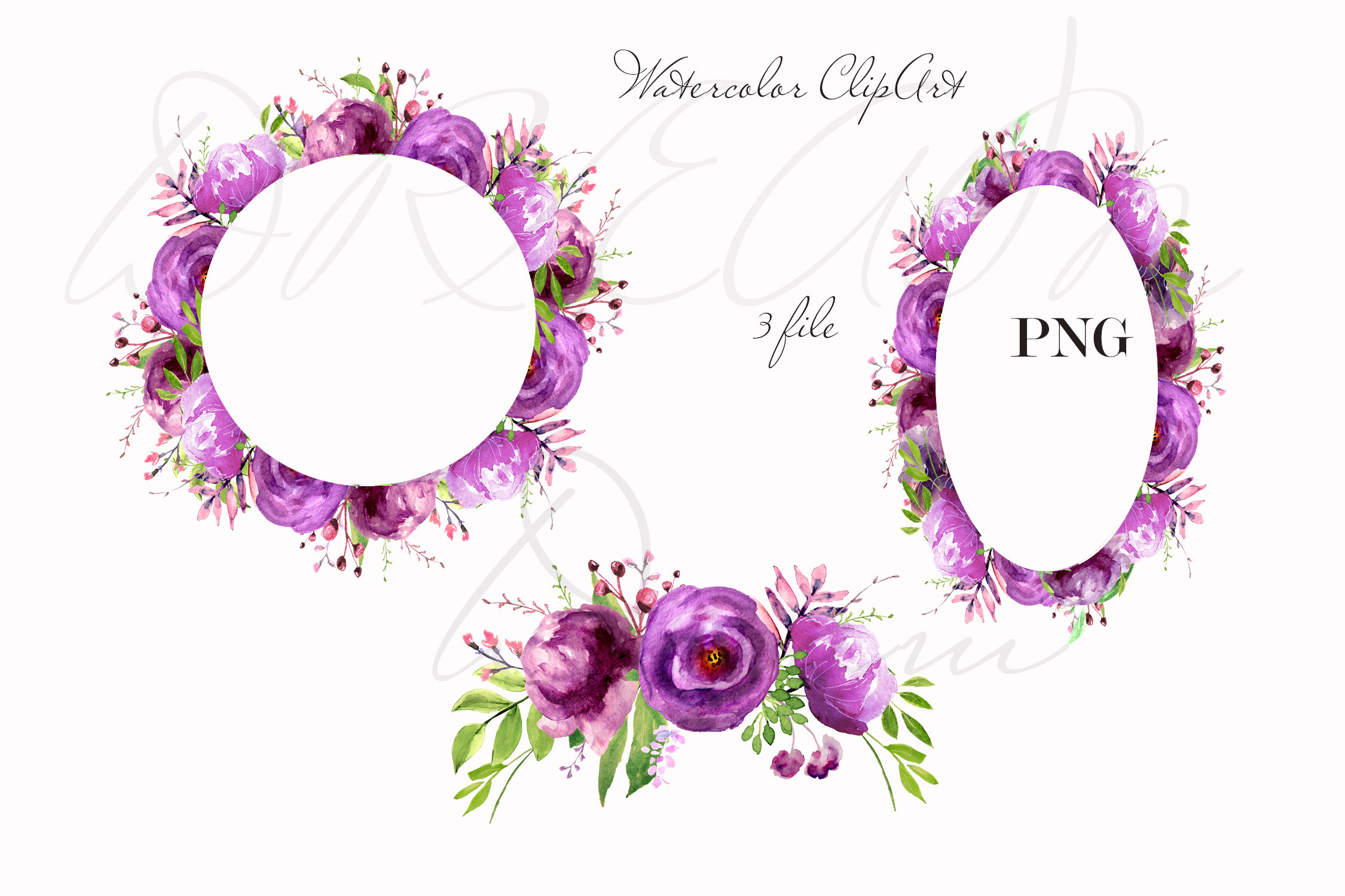 Purple Watercolor flowers clipart Wall art decor example image 2