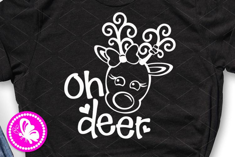 Oh deer svg Baby shower Baby girl shirt design Reindeer head example image 1