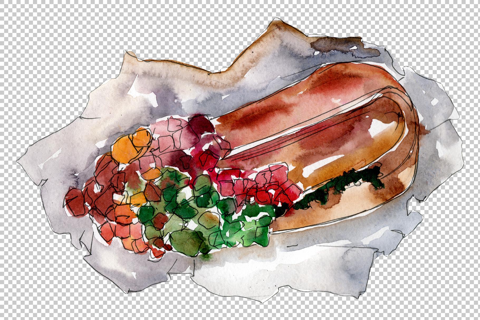 Hot dog in Ukrainian watercolor png example image 3