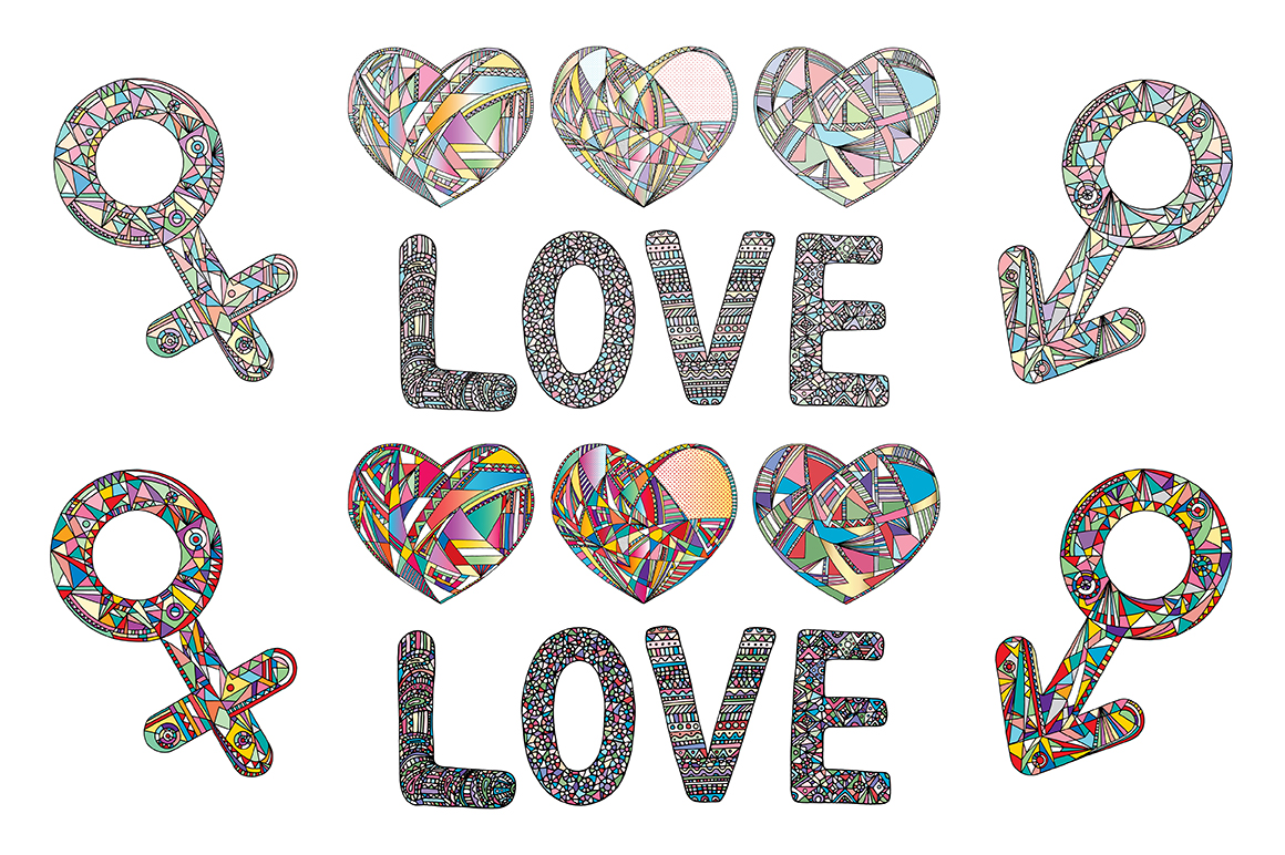 Hearts and gender symbols. LOVE vector collection. example image 2