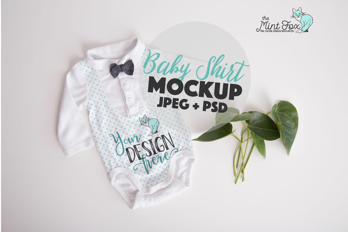 New Born Bodysuit Mock Up | Baby Boy Mockup example image 1