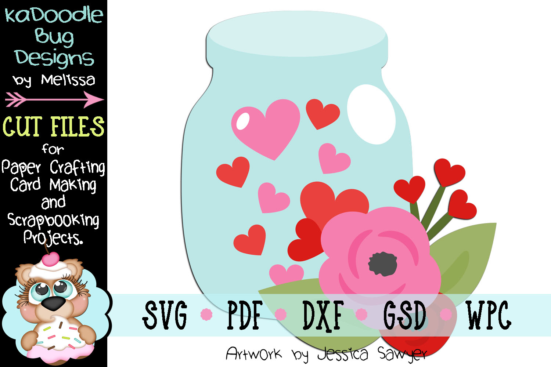 Heart Mason Jar Cut File - SVG PDF DXF GSD WPC example image 1