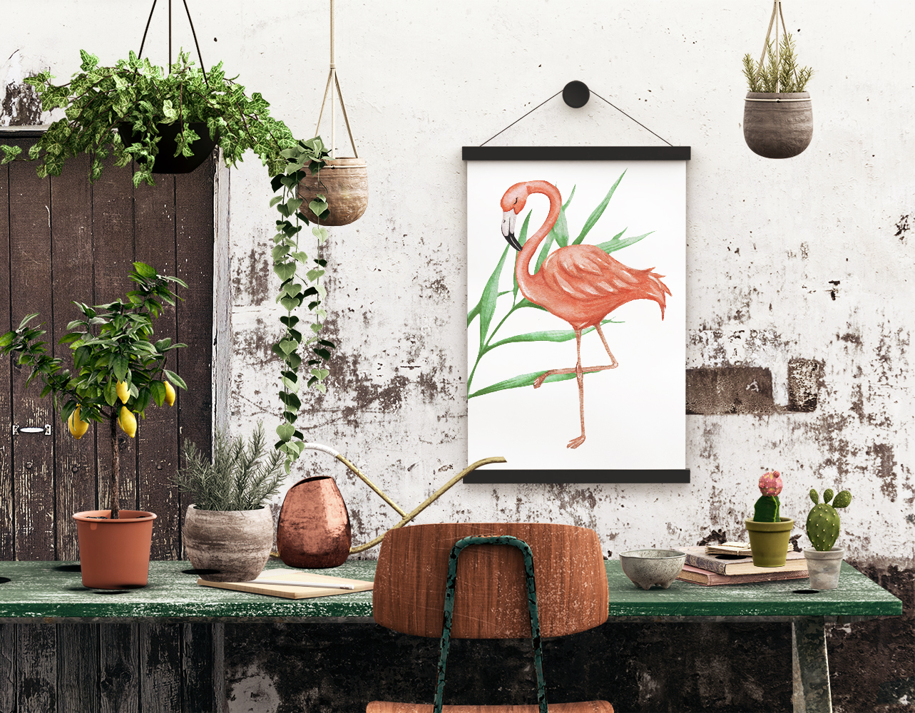 Tropical set of watercolor elements with flamingo example image 6