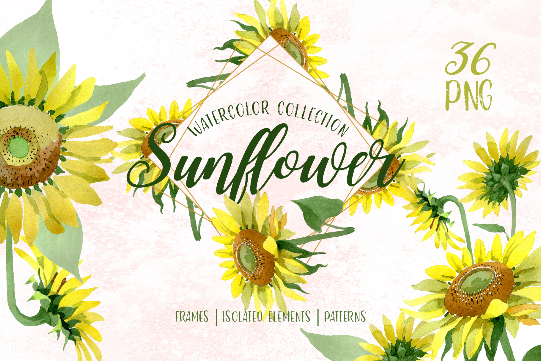 Sunflower Yellow Watercolor png example image 1