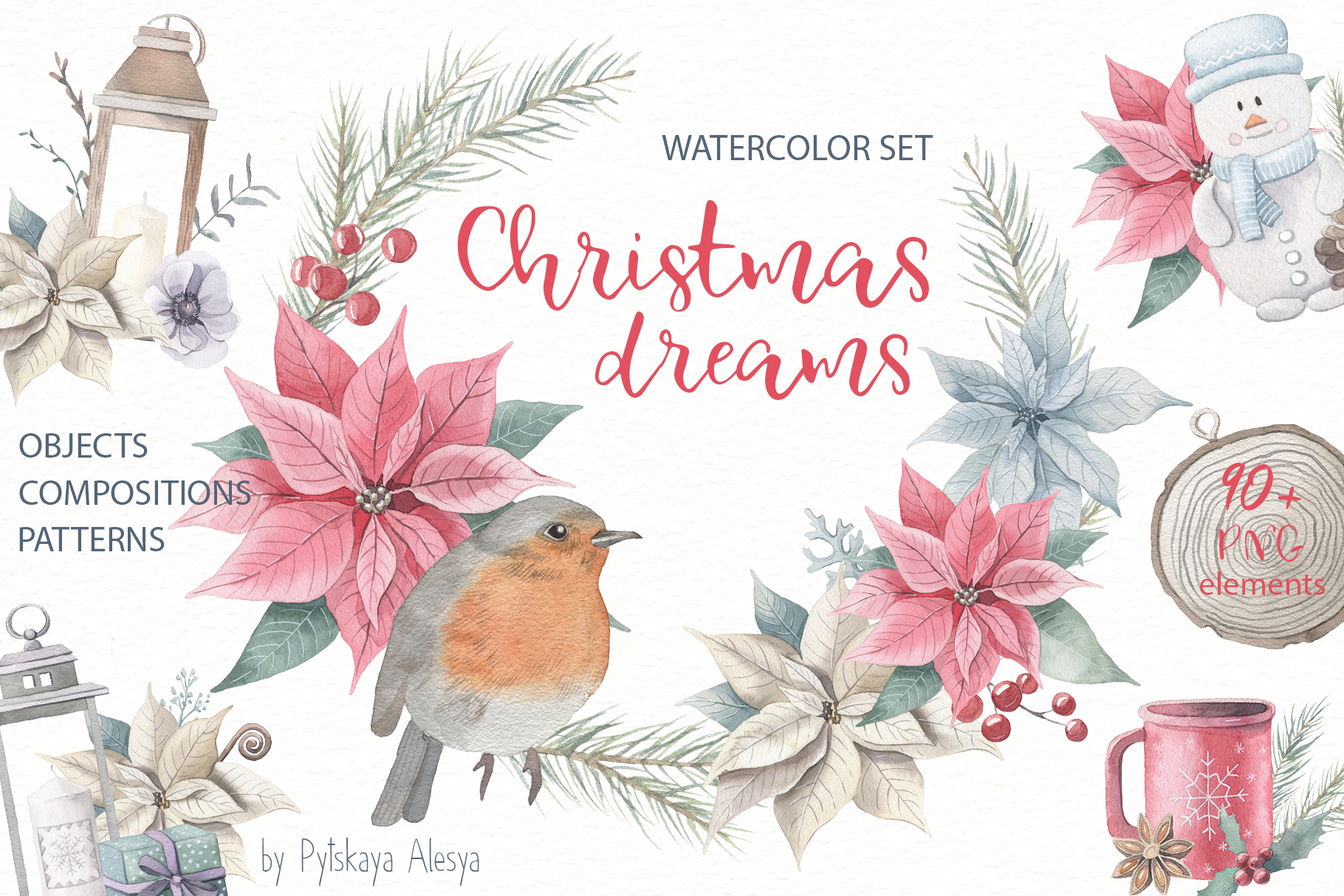 Christmas Dreams- Watercolor Set example image 1