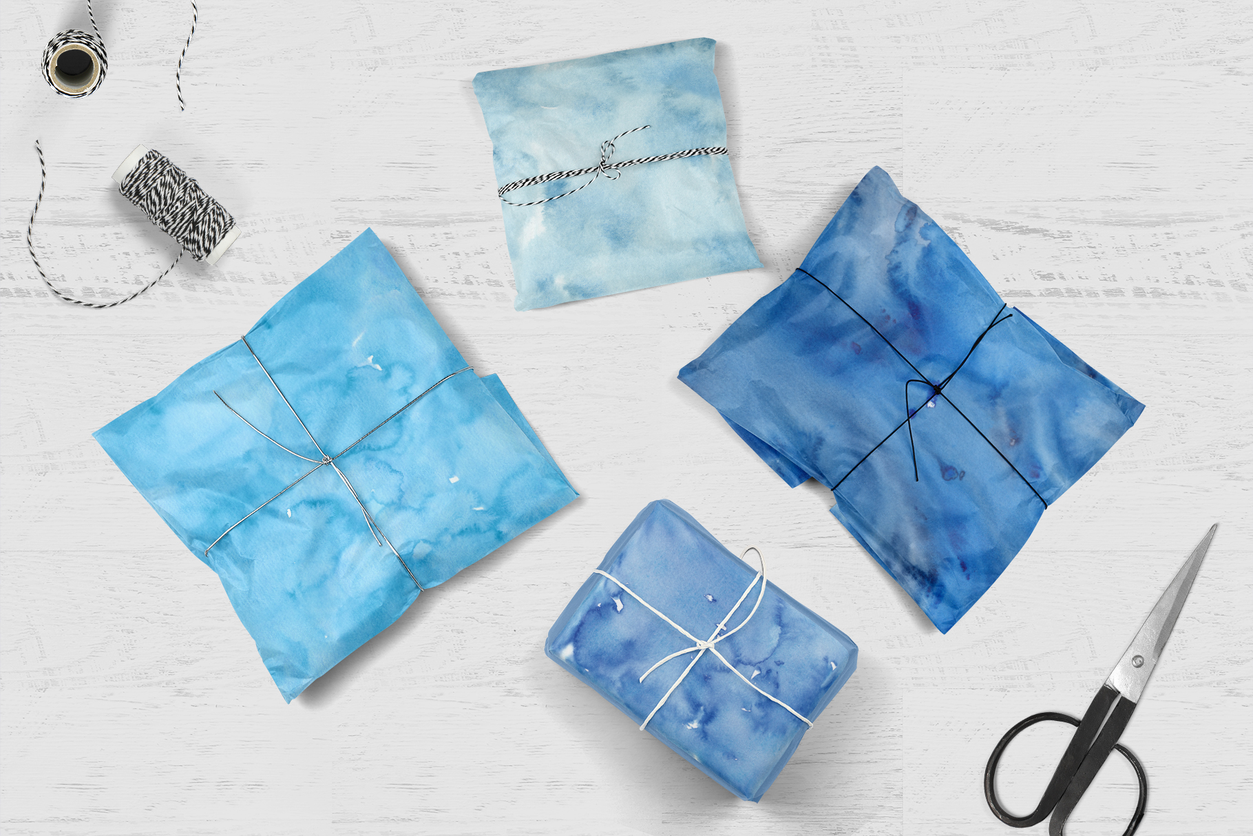 20 Huge Seamless Blue Watercolor Textures example image 9