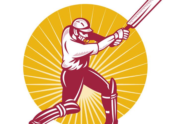 cricket sports batsman batting side view example image 1